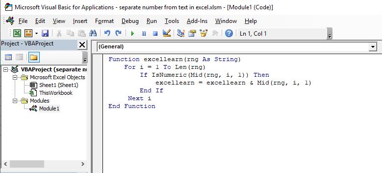 نحوه استفاده از تابع تفکیک عدد از حروف در اکسل (VBA)