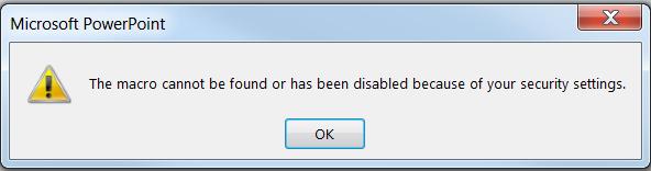 خطای the macro cannot be found or has been disabled