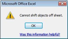 هشدار Cannot shift objects off sheet