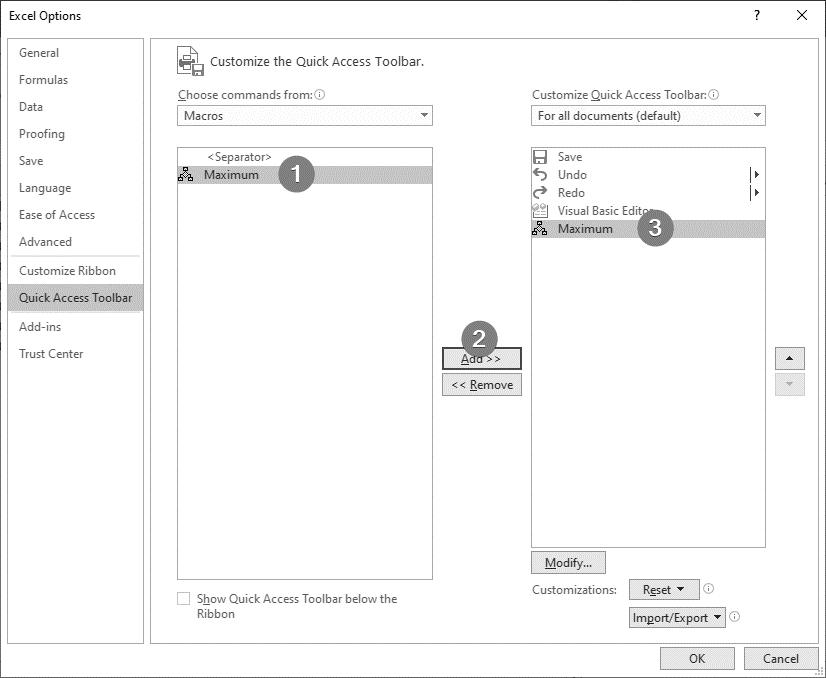 اضافه نمودن ماکروی ضبط شده به نوار Quick Access Toolbar